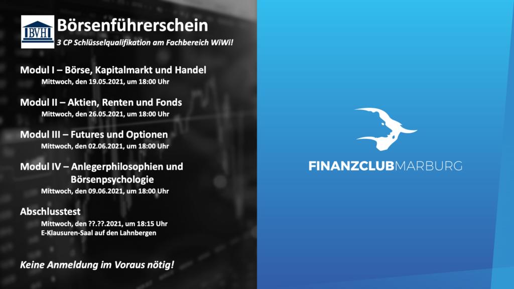 Börsenführerschein SoSe 2021 Termine